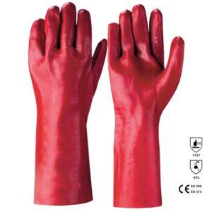 Manusi antichimice din PVC rosu