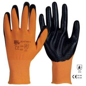 Manusi din tricot de poliester cu strat de nitril negru in palma ?i pe degete